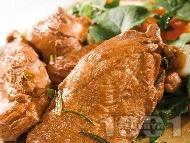 Рецепта Мариновани пилешки филенца с рукола